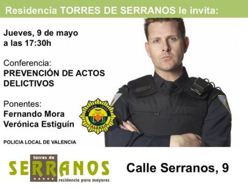 """Ciclos de conferencias """"Prevención de delitos"""", en la residencia Torres de Serranos"""