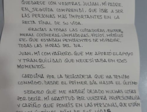 Emotiva carta del hijo de uno de nuestros residentes de Residencia Torres de Serranos